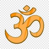 Icono hindú del símbolo de OM en estilo de la historieta ilustración del vector