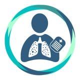 Icono humano con los pulmones enfermos, tablero de la silueta ilustración del vector