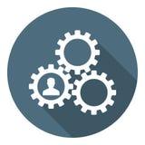Icono humano de la gestión de Resourse Engranajes que muestran el trabajo en equipo, cooperación, gestión Estilo plano Ilustració stock de ilustración