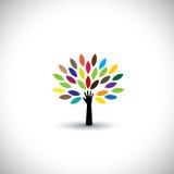 Icono humano de la mano y del árbol con las hojas coloridas Imagen de archivo libre de regalías