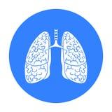 Icono humano de los pulmones en estilo negro aislado en el fondo blanco Ejemplo del vector de la acción del símbolo de los órgano stock de ilustración