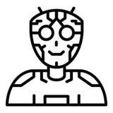 Icono humanoid del intelecto del Ai, estilo del esquema ilustración del vector