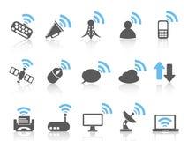 Icono inalámbrico de las comunicaciones, serie azul Foto de archivo libre de regalías
