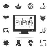 Icono indio de la película Sistema detallado de iconos indios de la cultura Diseño gráfico de la calidad superior Uno de los icon Imagen de archivo
