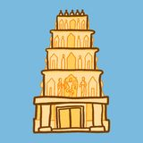 Icono indio del templo, estilo exhausto de la mano libre illustration