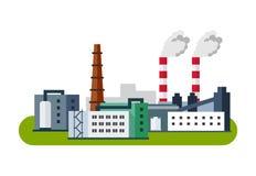 Icono industrial de los edificios de la fábrica Paisaje de la fábrica Ejemplo plano del vector Fotos de archivo