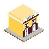 Icono isométrico 3d del edificio de biblioteca Ilustración del Vector