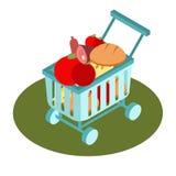 Icono isométrico de la cesta del supermercado Ilustración del vector Imagen de archivo libre de regalías