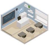 Icono isométrico de la sala de clase del vector