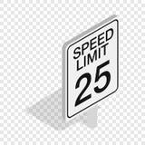 Icono isométrico de la señal de tráfico del límite de velocidad libre illustration