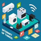 Icono isométrico del concepto del hogar sucinto de Iot Imagen de archivo