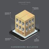 Icono isométrico del edificio de la cartulina del vector Imagenes de archivo