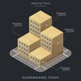 Icono isométrico del edificio de la cartulina del vector Foto de archivo