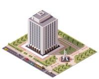 Icono isométrico del edificio de oficinas del vector