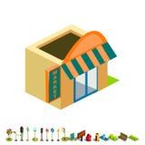 Icono isométrico del edificio del mercado del vector Fotografía de archivo