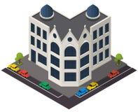 Icono isométrico del edificio del vector Imagenes de archivo