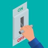 Icono isométrico del interruptor de cuchillo eléctrico ilustración del vector