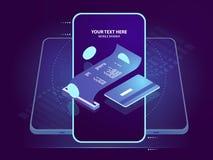 Icono isométrico del pago del electrón, recibo de la paga con la tarjeta de crédito, seguridad en línea del banco, blockchain y c ilustración del vector