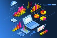 Icono isométrico del planeamiento de la inversión del planificador de la inversión stock de ilustración