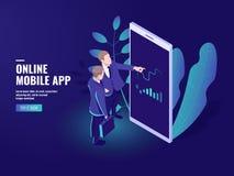Icono isométrico en línea comercial, dos hombres de negocios que hablan, Analytics del negocio y estrategia de las estadísticas,  stock de ilustración