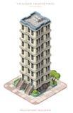Icono isométrico que representa el edificio de varios pisos Imagenes de archivo