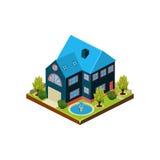 Icono isométrico que representa la casa moderna con el patio trasero Imagenes de archivo