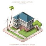 Icono isométrico que representa la casa moderna con el patio trasero Fotos de archivo libres de regalías