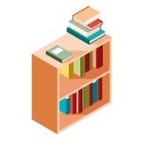 Icono isométrico de los estantes de librería Foto de archivo