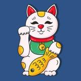 Icono japonés del vector del neko del manaki del gato fotos de archivo libres de regalías