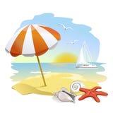Icono a la playa, al paraguas de sol y a las cáscaras stock de ilustración