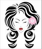 Icono largo del estilo de pelo, cara de las mujeres del logotipo Foto de archivo