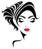 Icono largo del estilo de pelo, cara de las mujeres del logotipo en el fondo blanco Imagen de archivo libre de regalías