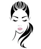 Icono largo del estilo de pelo de las mujeres, cara de las mujeres del logotipo