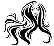 Icono largo del estilo de pelo de las mujeres, mujeres del logotipo en el fondo blanco