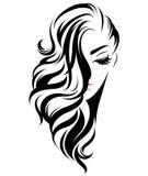 Icono largo del estilo de pelo de las mujeres, mujeres del logotipo en el fondo blanco ilustración del vector