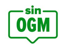 Icono libre de GMO, etiqueta española del paquete del producto alimenticio del pecado OGM Vector ningún sello de Organismo Geneti ilustración del vector