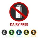 Icono libre de la lechería - diversos colores - para Apps y los sitios web ilustración del vector