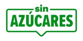 Icono libre del azúcar, etiqueta española del paquete del producto alimenticio de los azucares del pecado Vector ningún sello del libre illustration