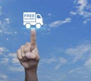 Icono libre del camión de reparto del presionado a mano sobre el cielo azul fotografía de archivo
