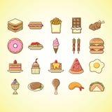 Icono lindo del ejemplo de los alimentos de preparación rápida Foto de archivo libre de regalías