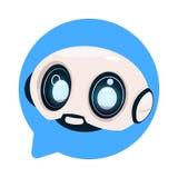 Icono lindo del robot del Bot de la charla en el concepto del icono de la burbuja del discurso de Chatbot o de charla BotTechnolo Foto de archivo libre de regalías