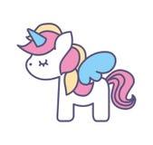 Icono lindo del unicornio de la fantasía ilustración del vector