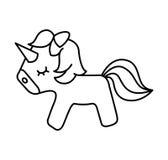 Icono lindo del unicornio de la fantasía Fotografía de archivo