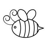 Icono lindo del vuelo de la abeja stock de ilustración