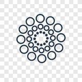 Icono linear de los puntos del vector grande y pequeño del concepto aislado en transp ilustración del vector