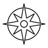 Icono linear del compás Línea fina ejemplo del compás del bolsillo Instrumento de la navegación y de la orientación Símbolo del c Imagenes de archivo