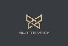 Icono linear del estilo de la plantilla del vector del extracto del diseño geométrico del logotipo de la mariposa stock de ilustración