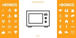 Icono linear del horno de microondas stock de ilustración