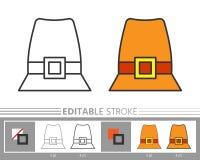 Icono linear del sombrero del peregrino del día de la acción de gracias stock de ilustración