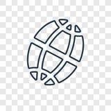 Icono linear del vector circular del concepto de la rejilla del planeta aislado en tran stock de ilustración
